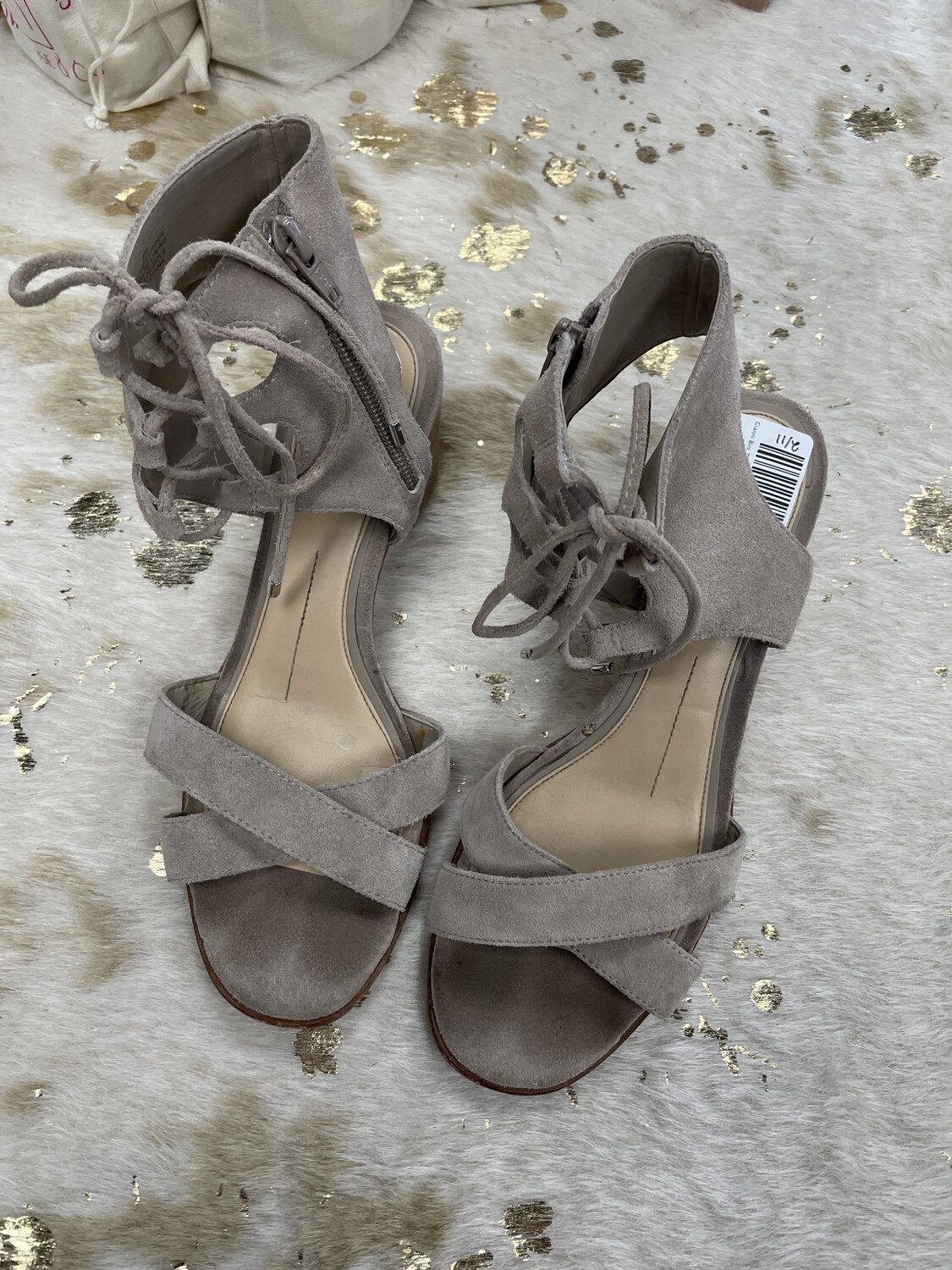 Gianni Bini Tan Suede Lace Up Block Sandals - Size 8