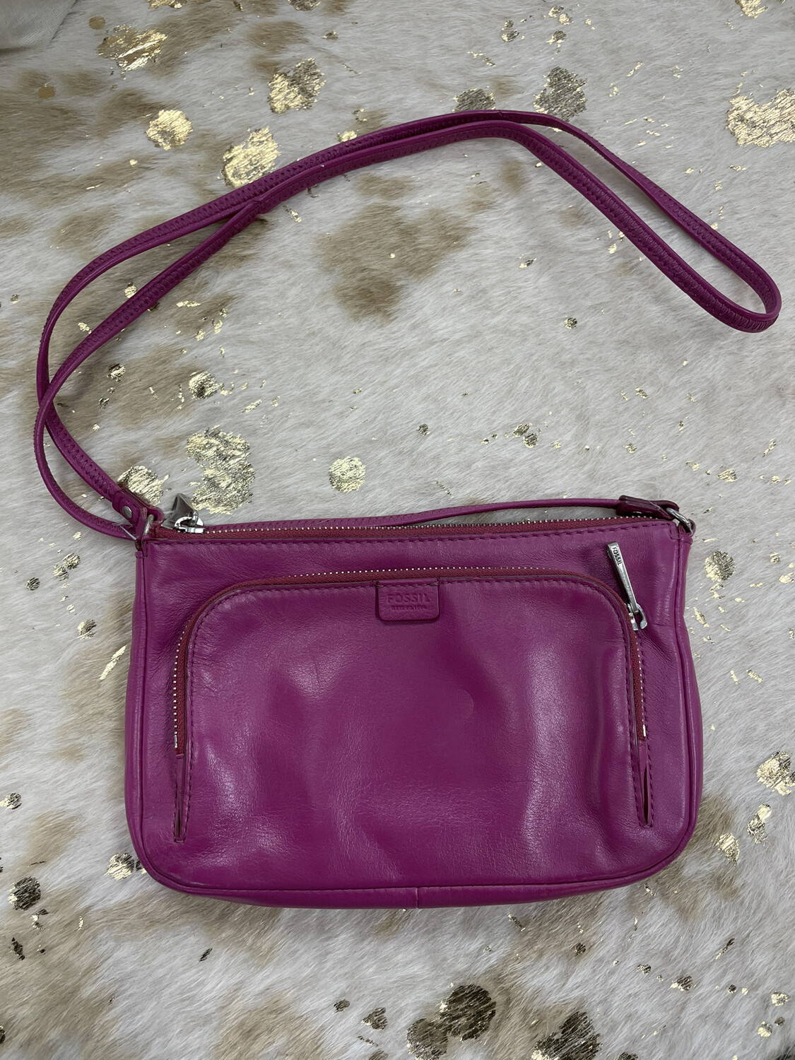 Fossil Pink Leather Crossbody