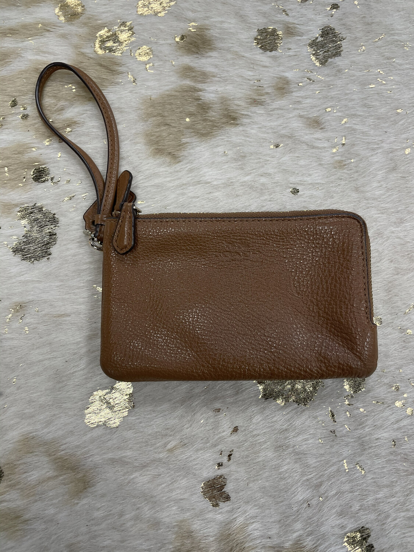 Coach Brown Leather Double Zip Wristlet