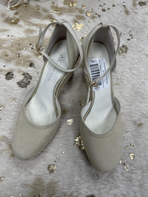Anne Klein Cream Ankle Strap Wedges - Size 6