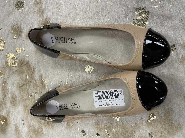Michael Kors Tan & Black Toe Flats - Size 6