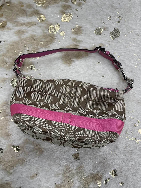 Coach Brown Canvas Small Purse w/ Pink Stripe & Strap