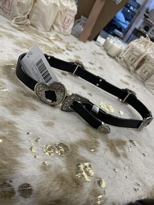 Justin Black Western Belt w/ Silver Heart Hardware - XS
