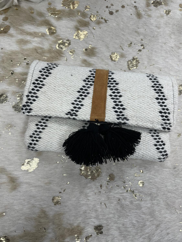 The Royal Standard Cream & Black Tassel Clutch
