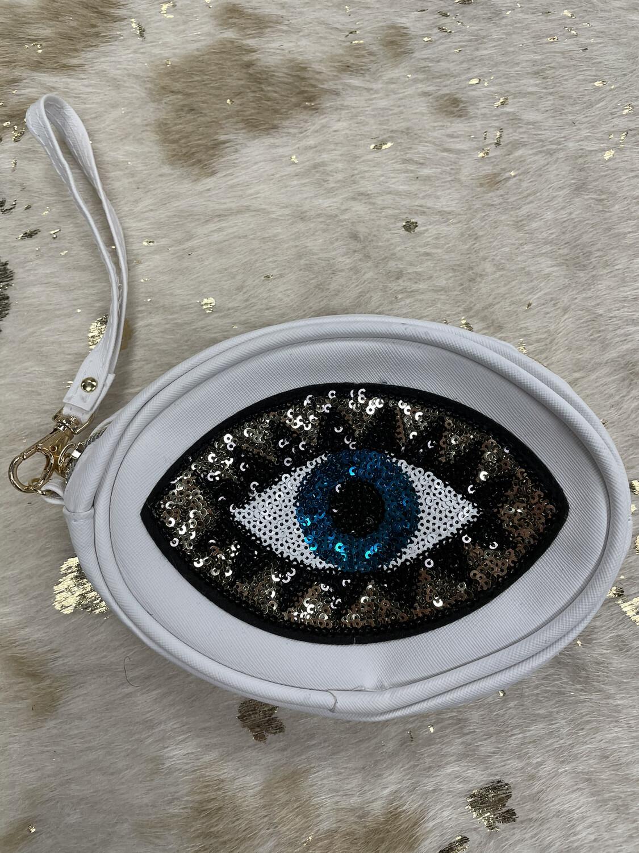 White Sequin Eye Wristlet