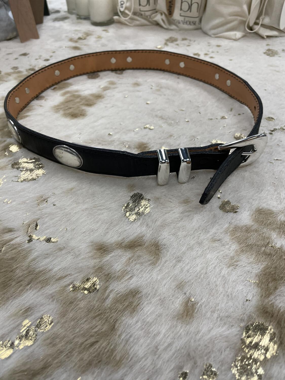 Nocona Black Western Belt w/ Silver Hardware - S