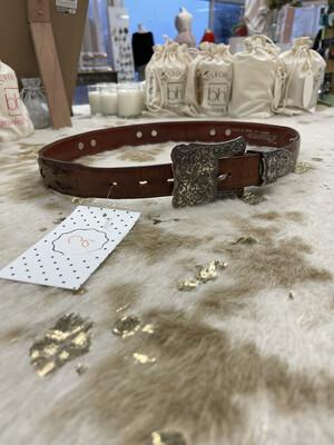 Nocona Brown Belt w/ Silver Hardware - XS