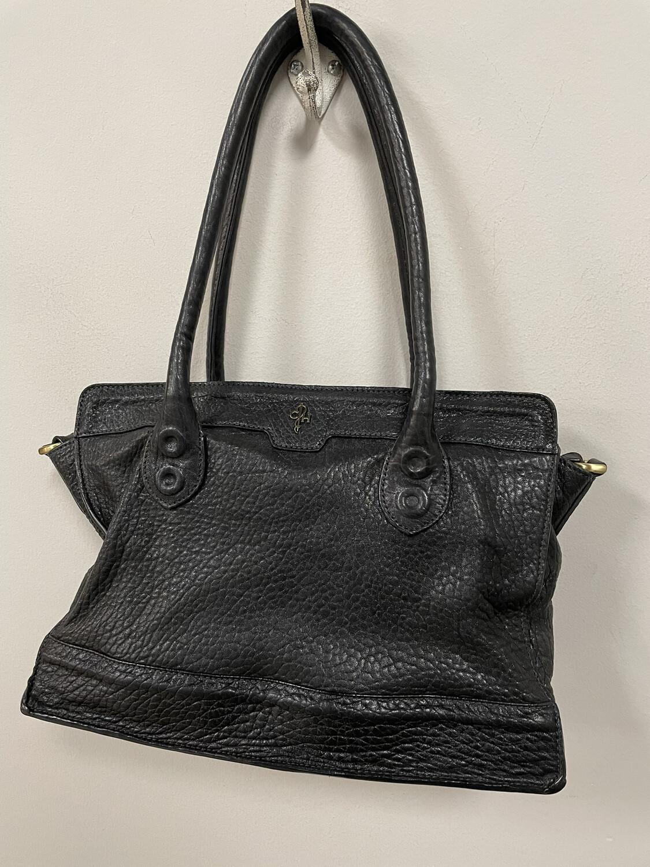 Cole Haan Black Pebbled Leather Handbag w. Long Straps