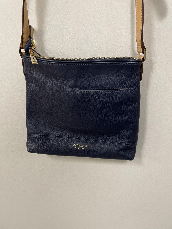 Isaac Mizrahi Blue Pebbled Leather Crossbody