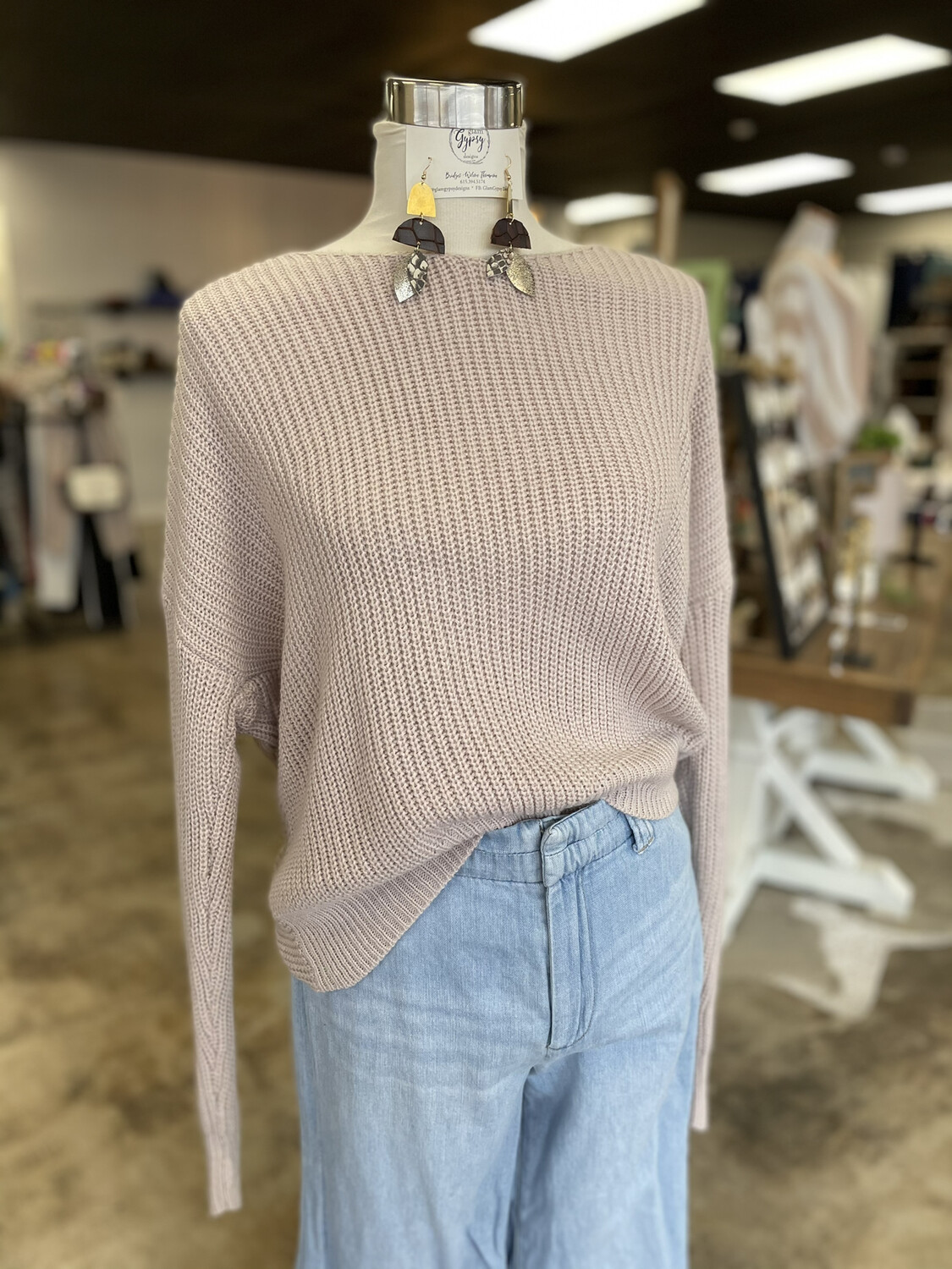 Main Strip Pale Pink Open Back Sweater - S