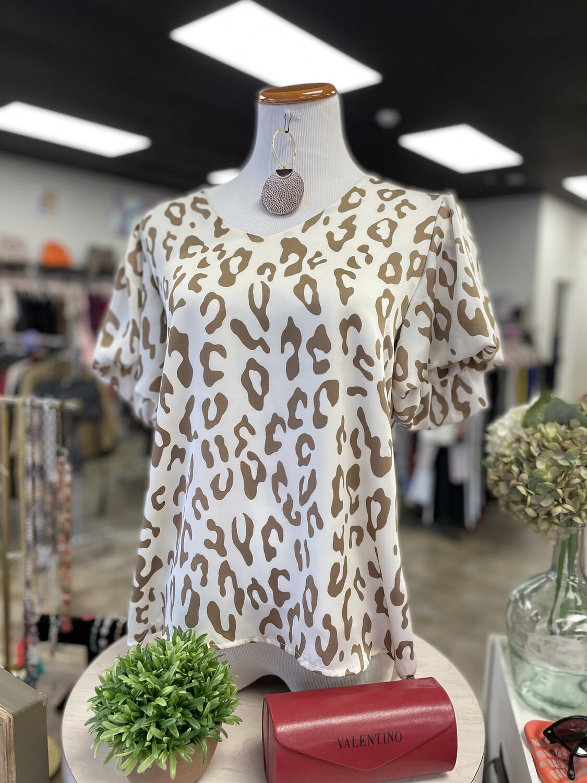 Tyche Cream Leopard Blouse - S