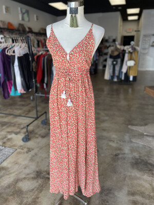 Faithfull The Brand Coral Floral Low Plunge Maxi Dress - Size 4