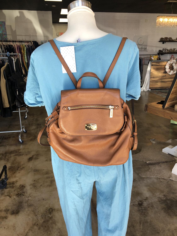 Michael Kors Brown Pebbled Leather Backpack
