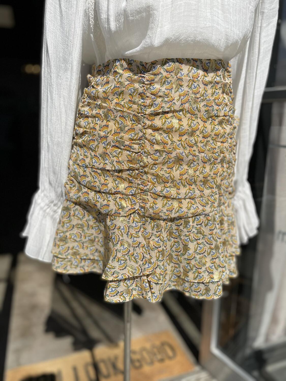 Bishop + Young Patterned Metallic Gold Ruffle Flirt Skirt - S