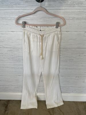Roxy White Drawstring Linen Pants - S