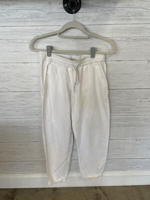 J. Crew White Drawstring Linen Blend Pants - Size 4