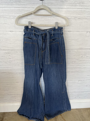 Pilcro and the Letterpress Dark Belted Flare Jeans - Size 27