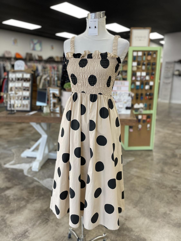 Englosh Factory Tan & Black Polka Dot Midi Dress - S