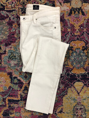 AG White Distressed Legging Ankle Jeans - Size 27