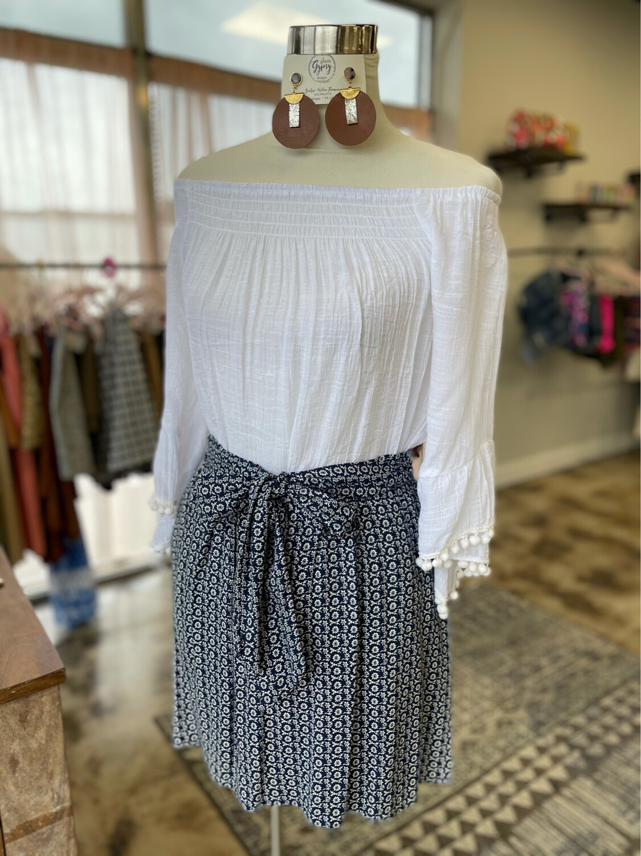 MNG Blue Floral Skirt - Size 4