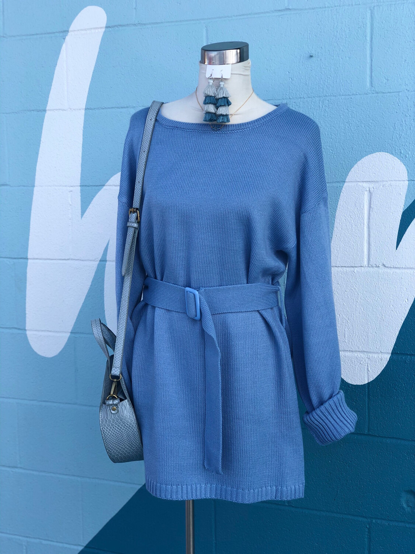 Vici Light Blue Sweater Dress - M