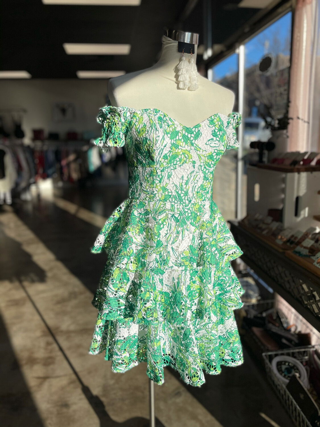 Lilly Pulitzer Green & White Patterned Layer Dress - Size 4