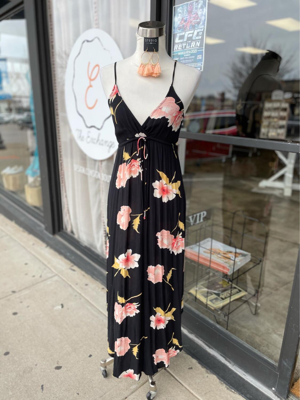 Billabong Black Floral Maxi Dress - S