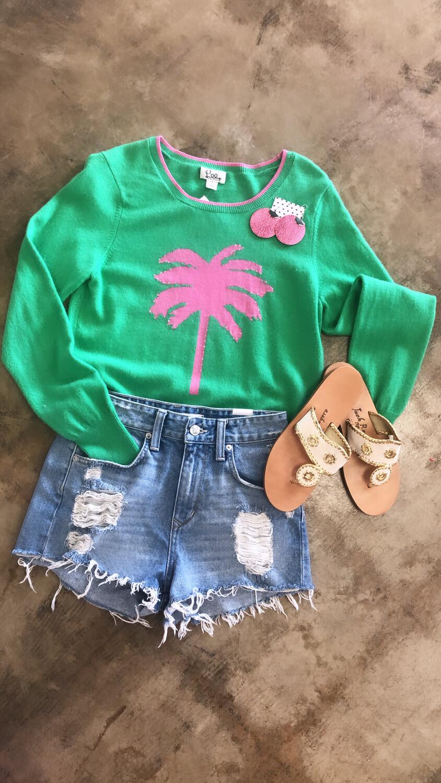 Lilly Pulitzer Green Sweater w/ Pink Palm Tree - L