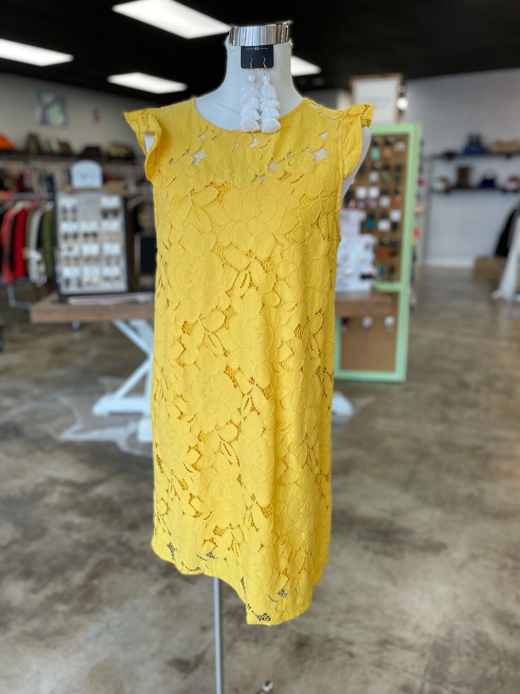 Monteau Yellow Floral Layer Dress - L
