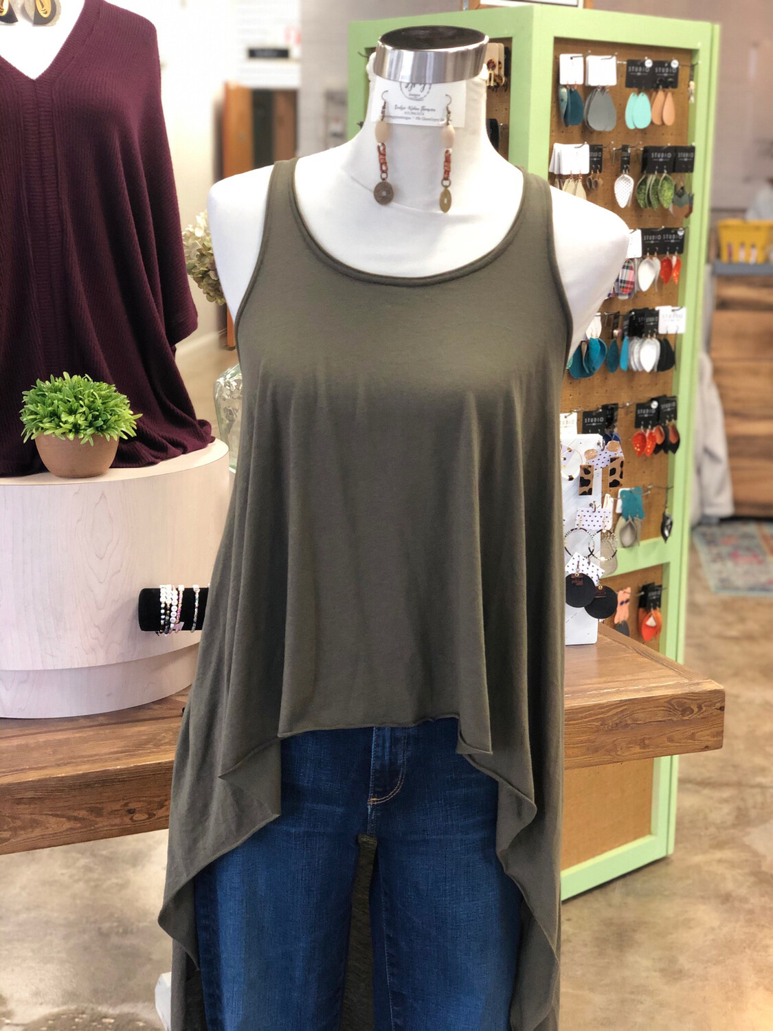 Express Olive Green High Low Tank - S