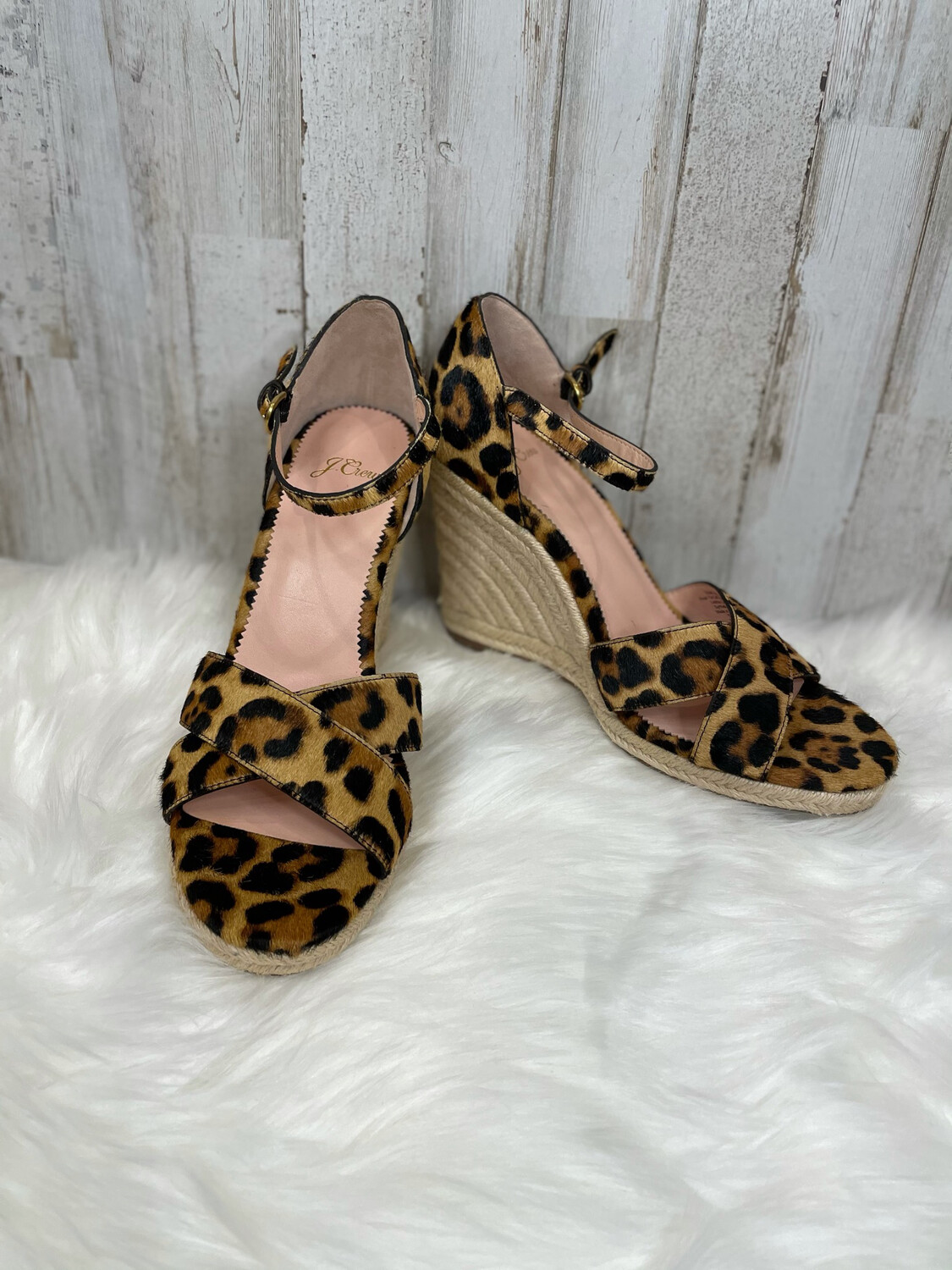 J. Crew Leopard Cross Over Sandal Wedges w/ Ankle Straps - Size 10