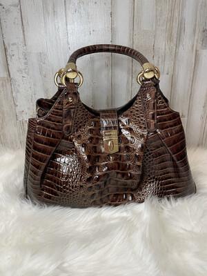 Brahmin Brown Croc Shoulder Bag w/ Gold Hardware