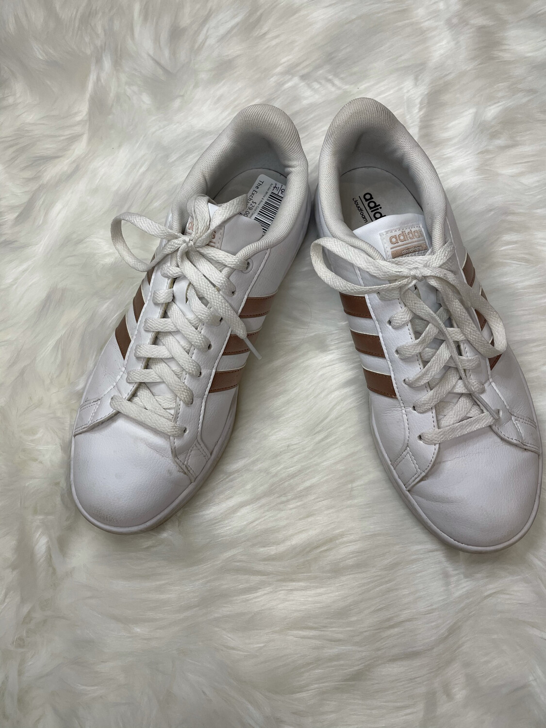 Adidas White & Rose Gold Classic Sneakers - Size 10