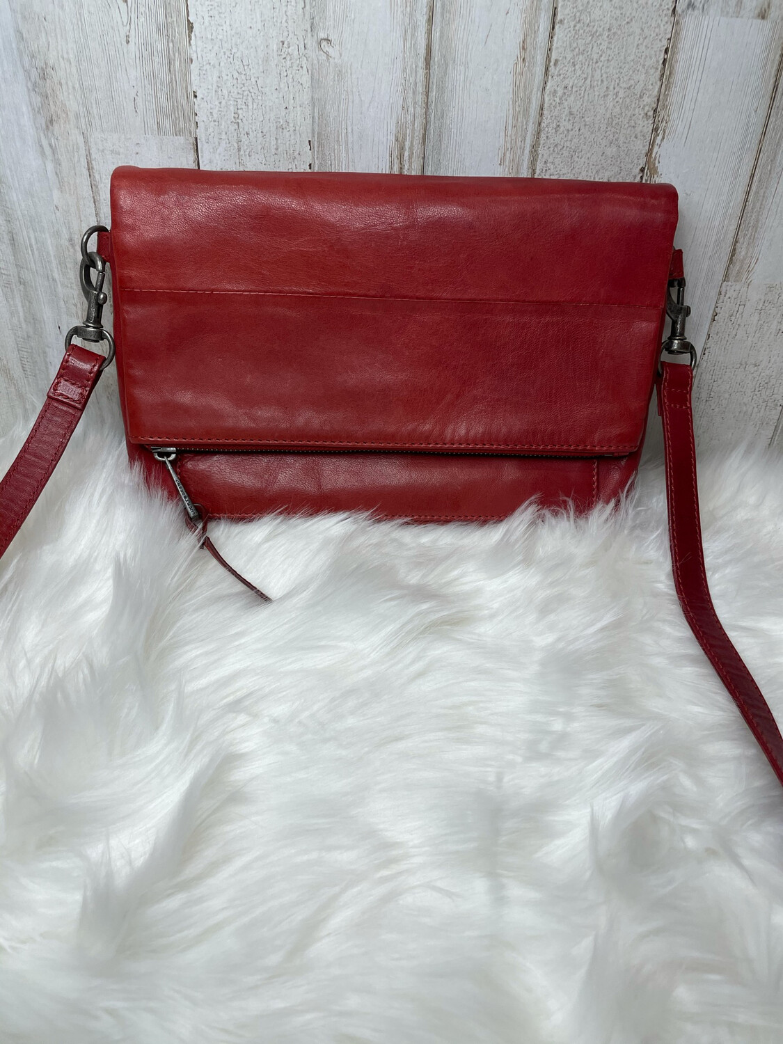 Lucky Brand Red Leather Fold Over Crossbody