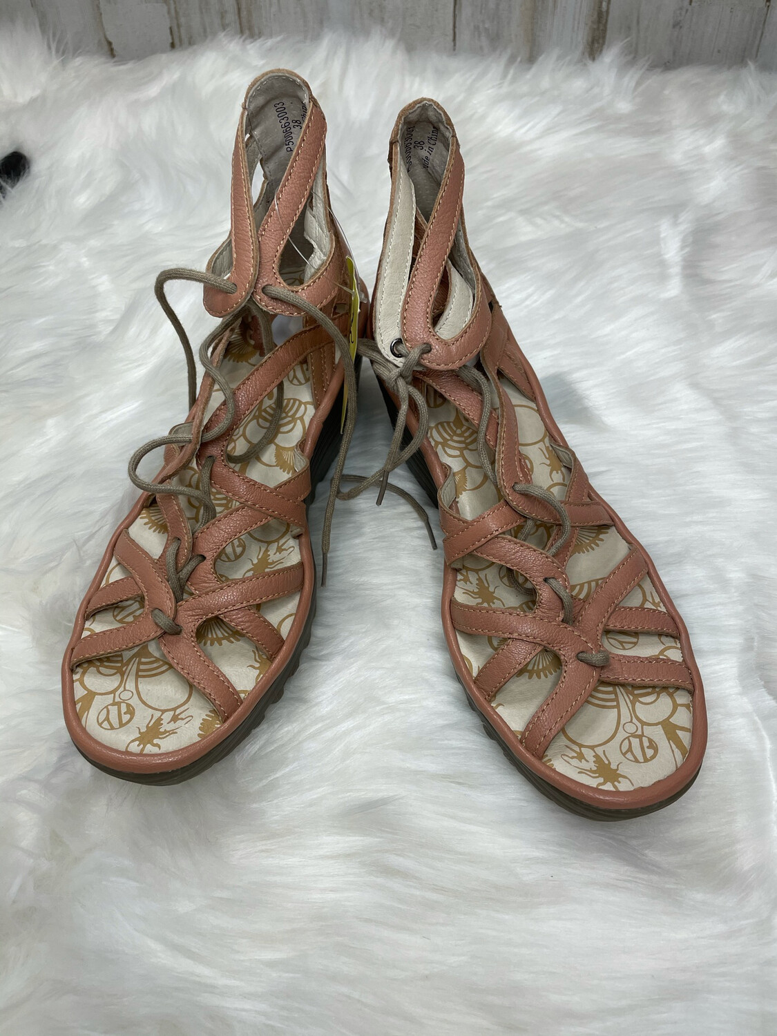 Fly London Pink Leather Lace Up Wedge Sandals - Size 9