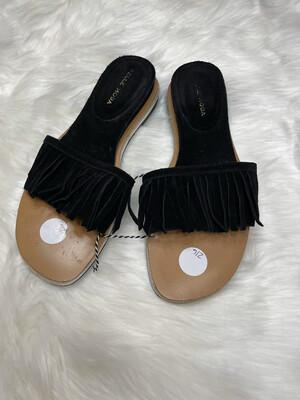 Pelle Moda Black Fringe Slides - Size 8.5