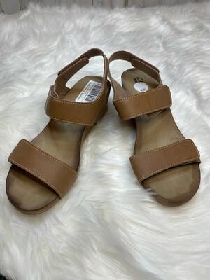 Clarks Brown Velcro Sandal Wedges - Size 9