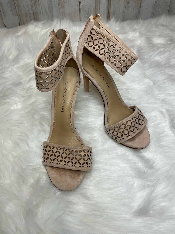 Antonio Melani Nude Sandal Heels w/ Ankle Strap - Size 7.5