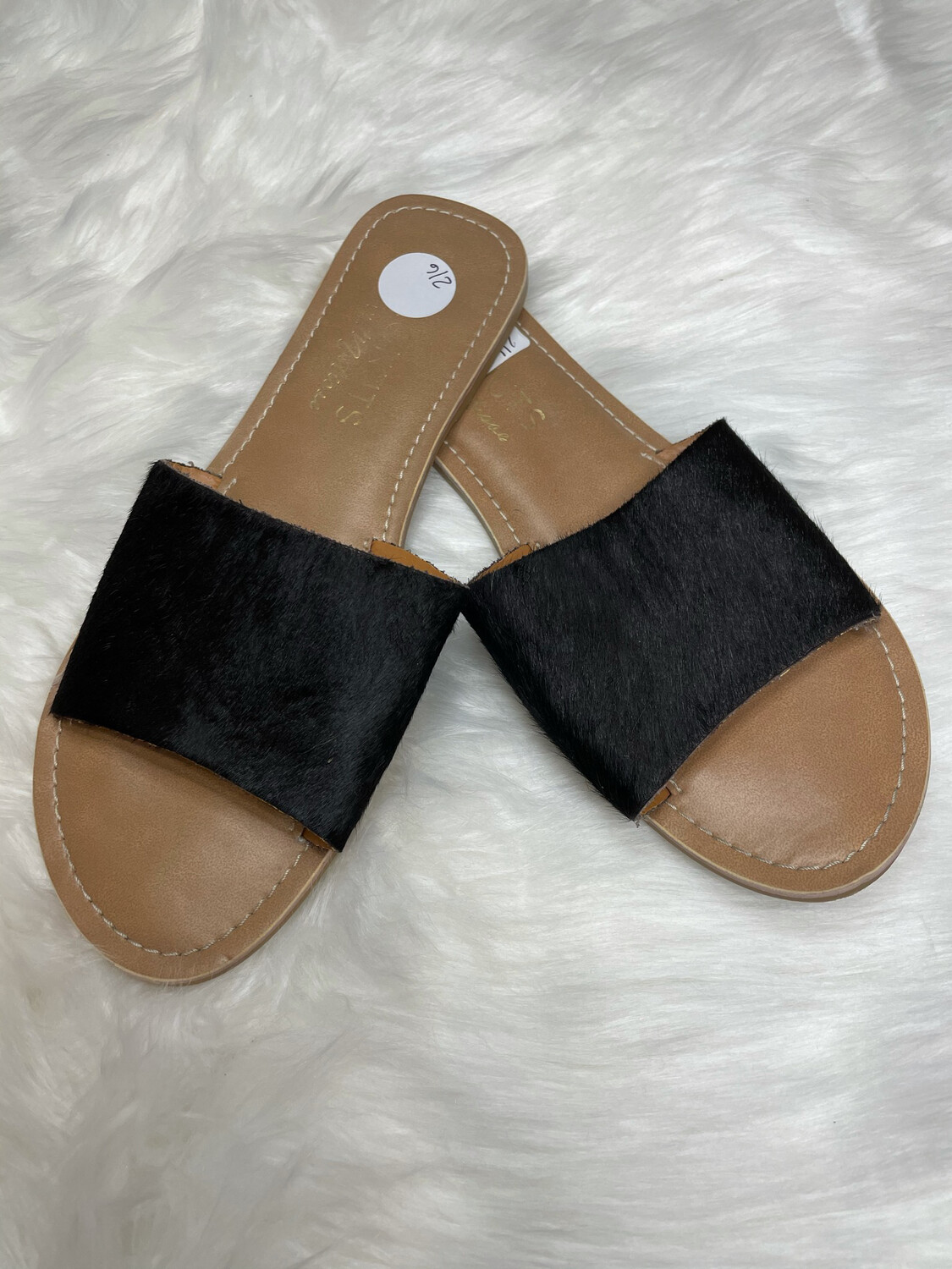 Coconuts by Matisse Black Calf Hair Slides - Size 8