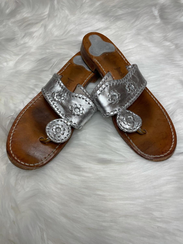 Jack Rogers Metallic Silver Sandals - Size 8