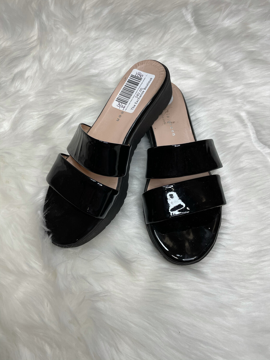 Patricia Green Black Patent Leather Double Strap Sandals - Sized 8.5