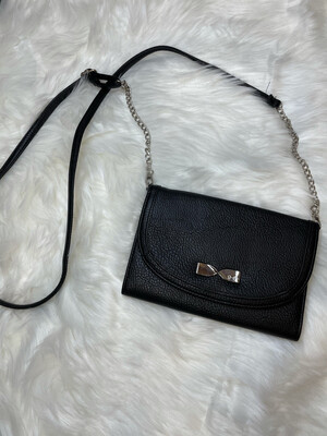 Jessica Simpson Black Bow Clutch w/ Crossbody Strap