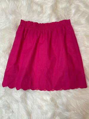 J. Crew Hot Pink Linen Scalloped Trim Skirt - Size 4