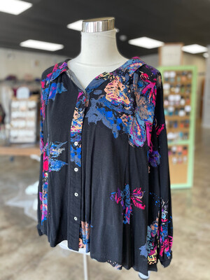 Free People Black Floral Flow Top - XS
