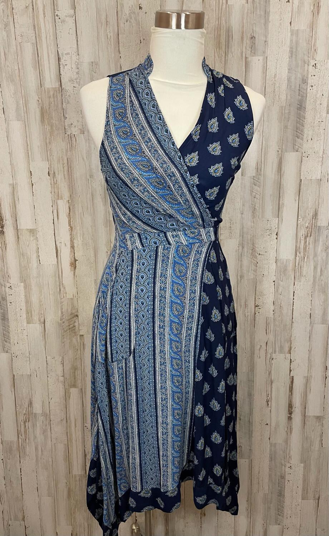 Maeve Navy Paisley Patterned Midi Handkerchief Dress - Size 0