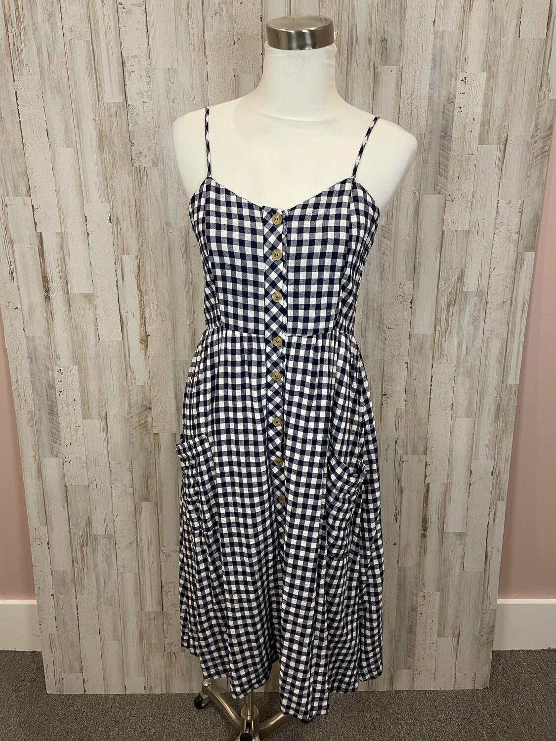 Hem & Thread Navy & White Plaid Midi Dress w/ Buttons - M