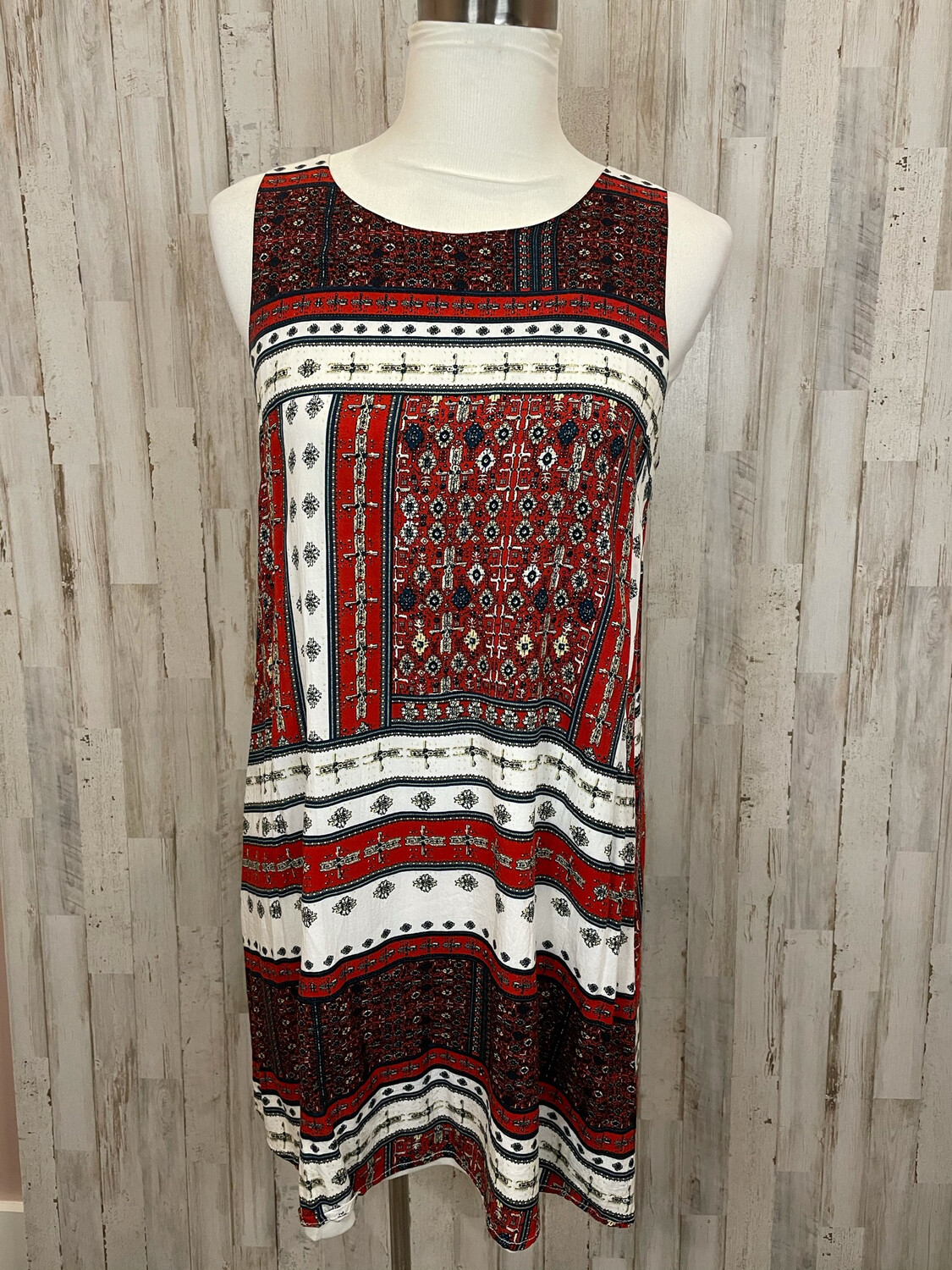 Entro Red Navy & Blue Patterned Dress w/ Red Tassels - M