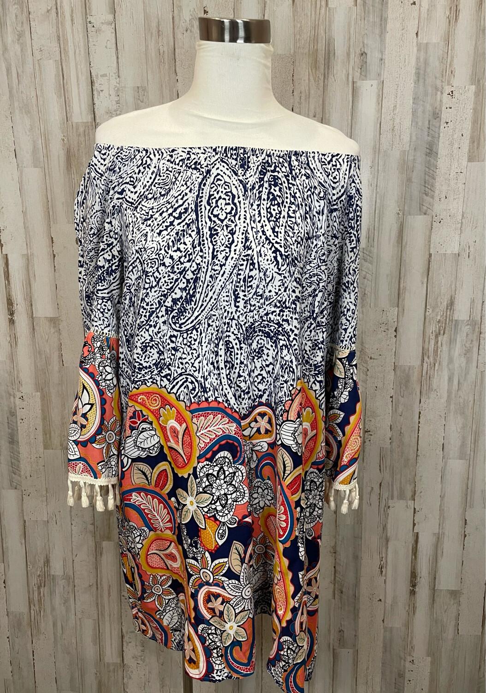 Entro Floral & Paisley Patterned Dress w/ Tassels - eL