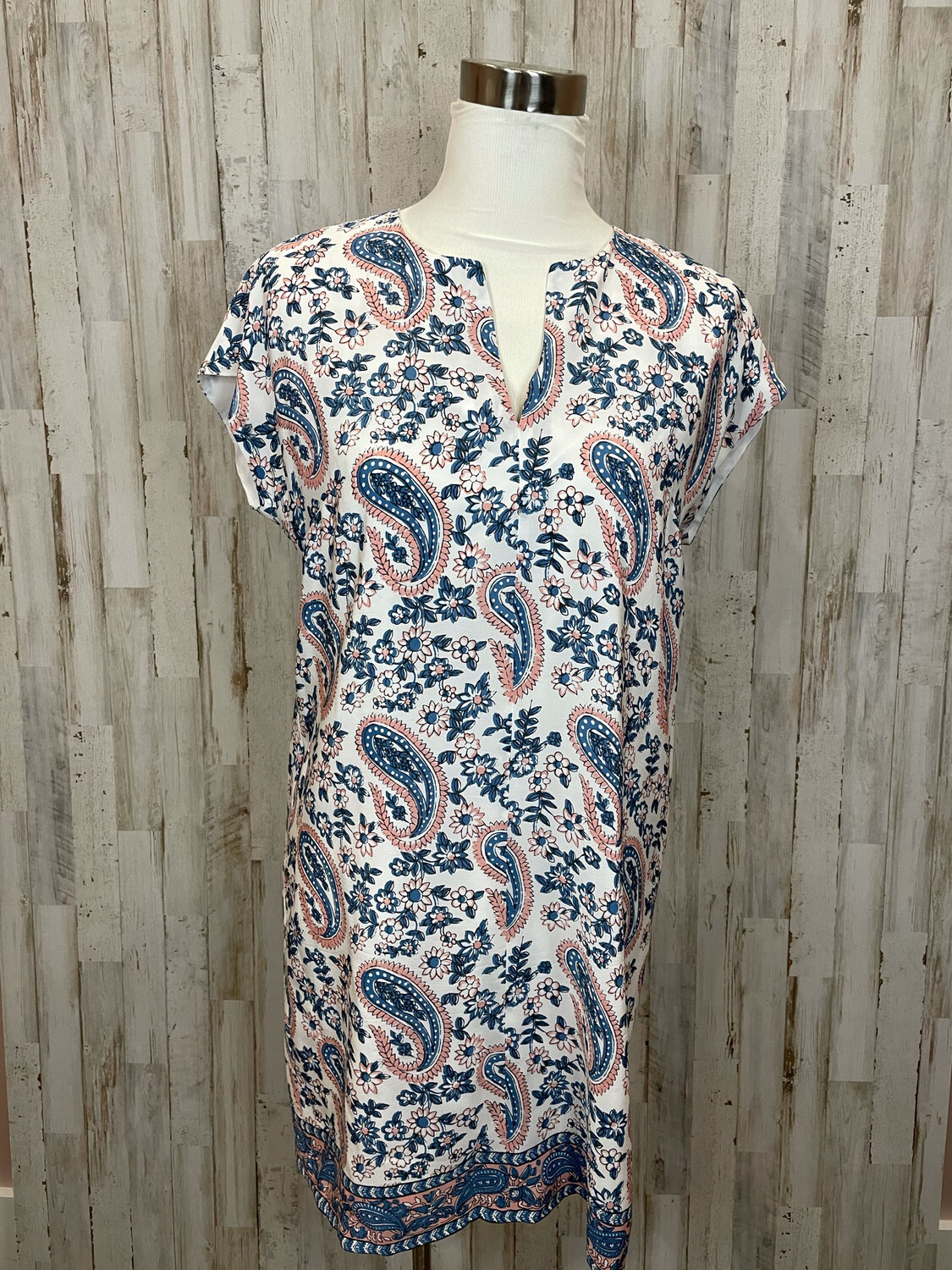 Madewell White Dress w/ Blue & Pink Paisley & Floral Pattern - S