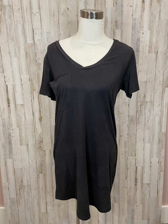 Z Supply Black Pocket Suede Vneck Dress - S
